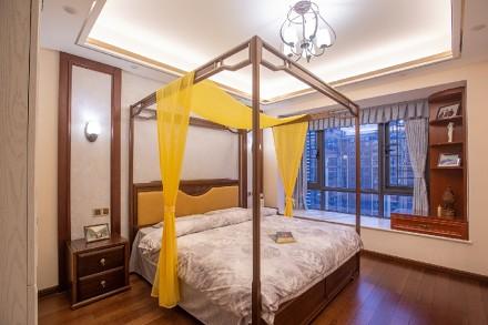 中洲中央公园126平中式风格装修实景欣赏卧室1图