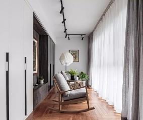 109的面积+美式田园风格+三室的户型阳台美式田园设计图片赏析
