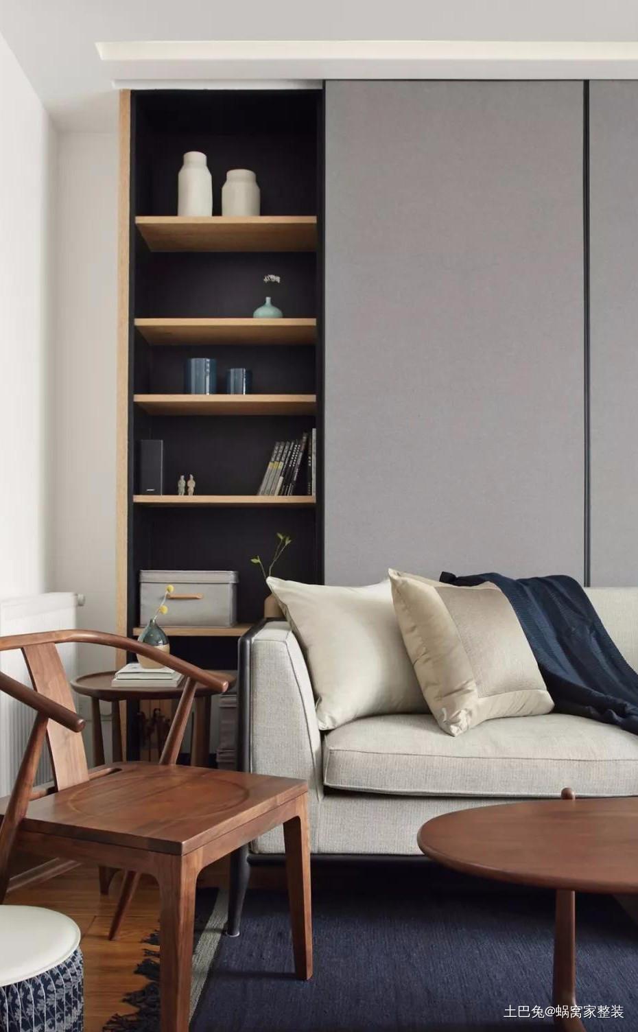 118㎡现代混搭新中式大书墙加移门客厅现代简约客厅设计图片赏析