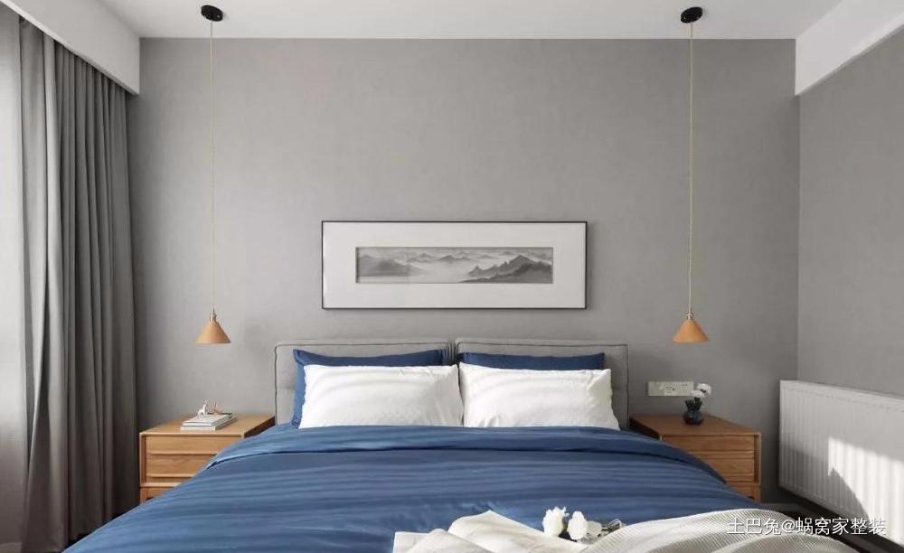 118㎡现代混搭新中式大书墙加移门卧室现代简约卧室设计图片赏析