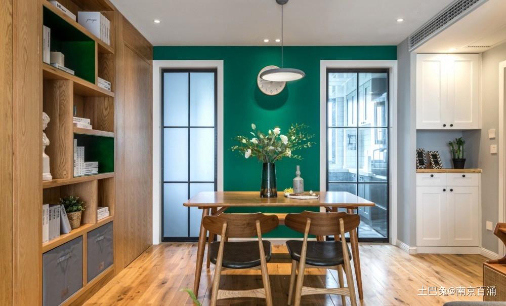89m²客厅做全面墙书柜+隐形门厨房现代简约餐厅设计图片赏析