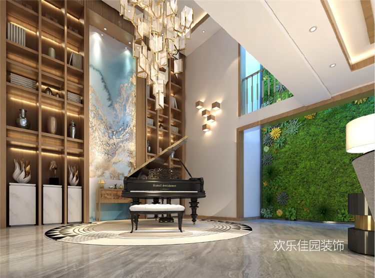 日式中式混搭别墅,中庭改成钢琴房