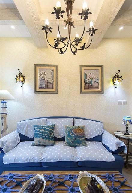 70平蓝白地中海二室在家遐想爱琴海客厅1图