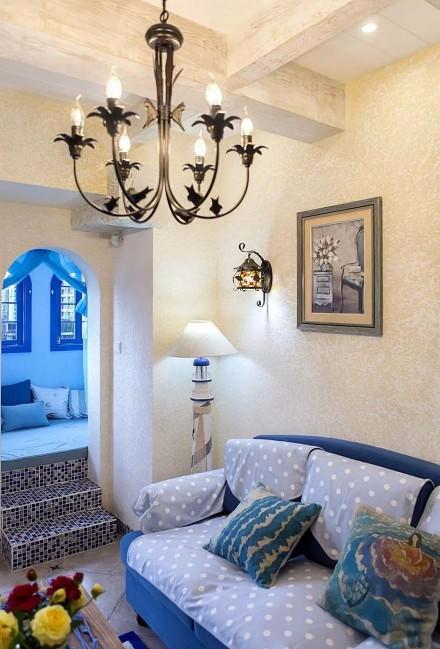 70平蓝白地中海二室在家遐想爱琴海客厅2图