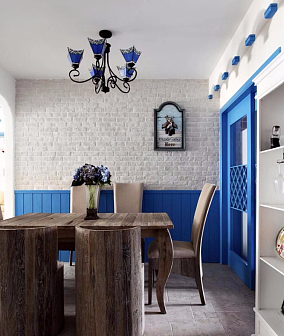 80㎡地中海风格,金仕华庭厨房地中海设计图片赏析
