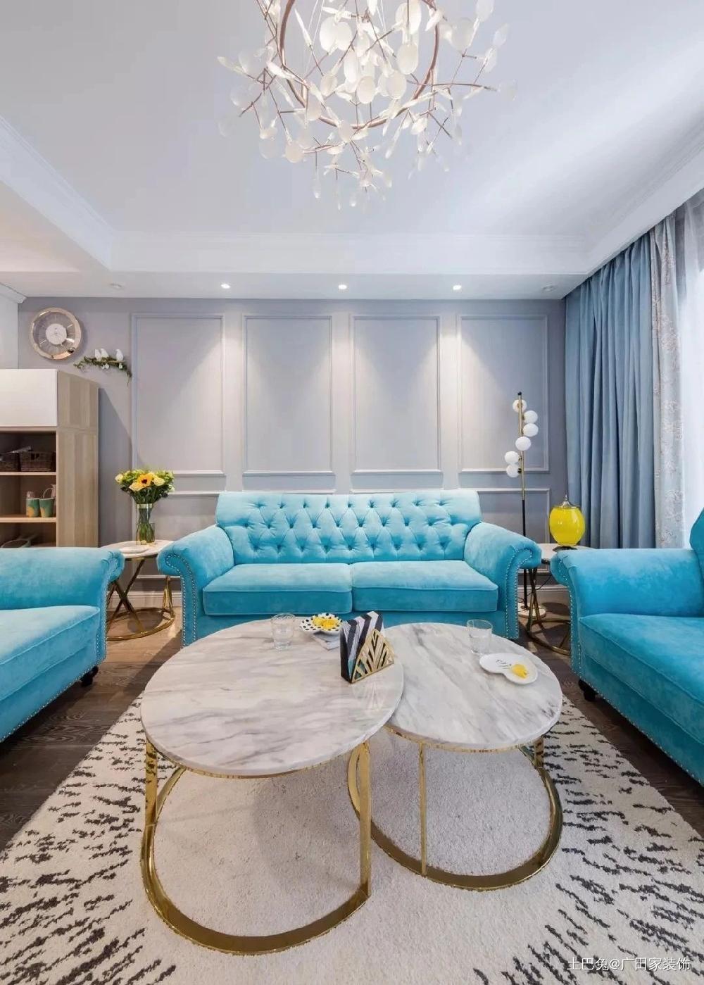 120平清新美式精致与唯美的浪漫生活客厅窗帘美式经典客厅设计图片赏析