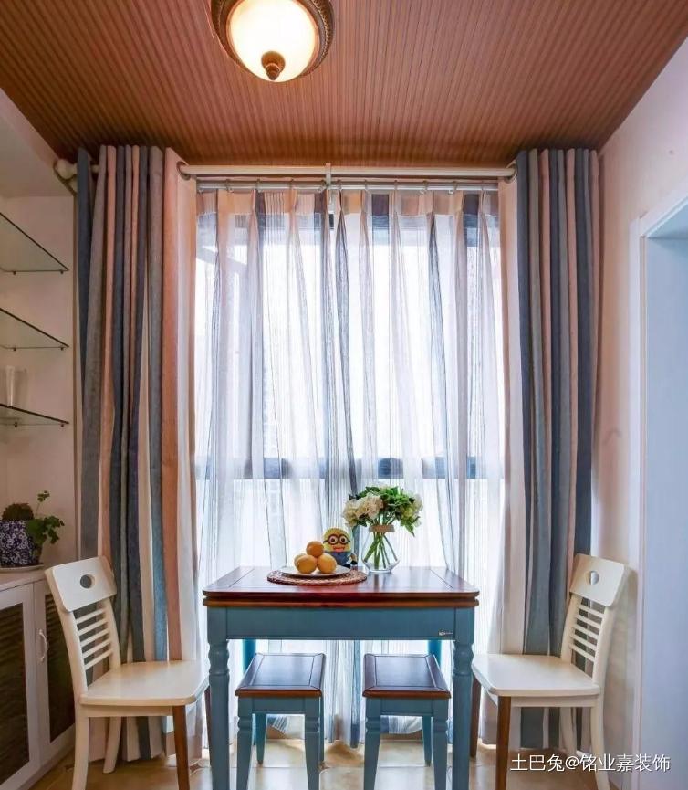 57㎡地中海风格轻纺城厨房窗帘地中海餐厅设计图片赏析