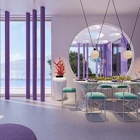 嫣红姹紫未来主义海岛别墅厨房现代简约设计图片赏析