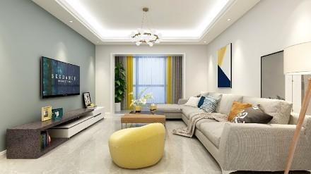 122㎡功能性设计线条简约流畅的三居客厅