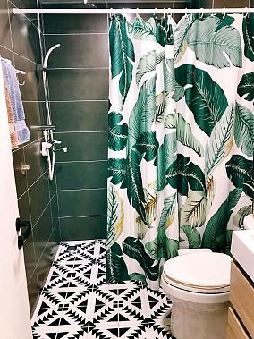 开放式厨房的改造,厨房白色砖配黑色美卫生间北欧极简设计图片赏析