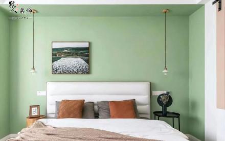 108平北欧三室相当和谐的蓝与绿卧室