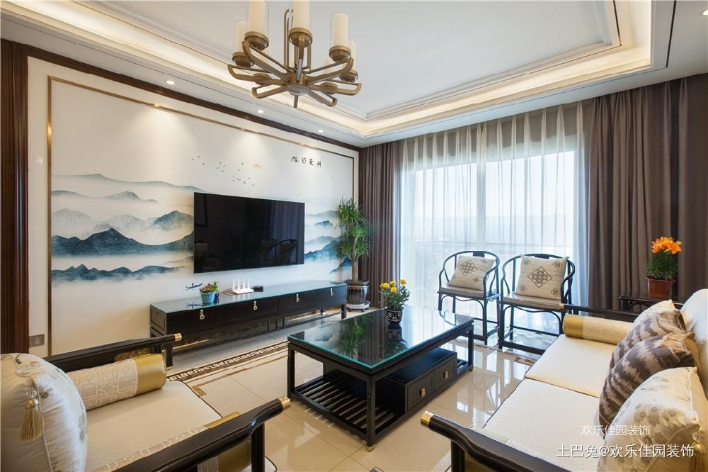 180平中式空间两套打通秒变大房子客厅中式现代客厅设计图片赏析
