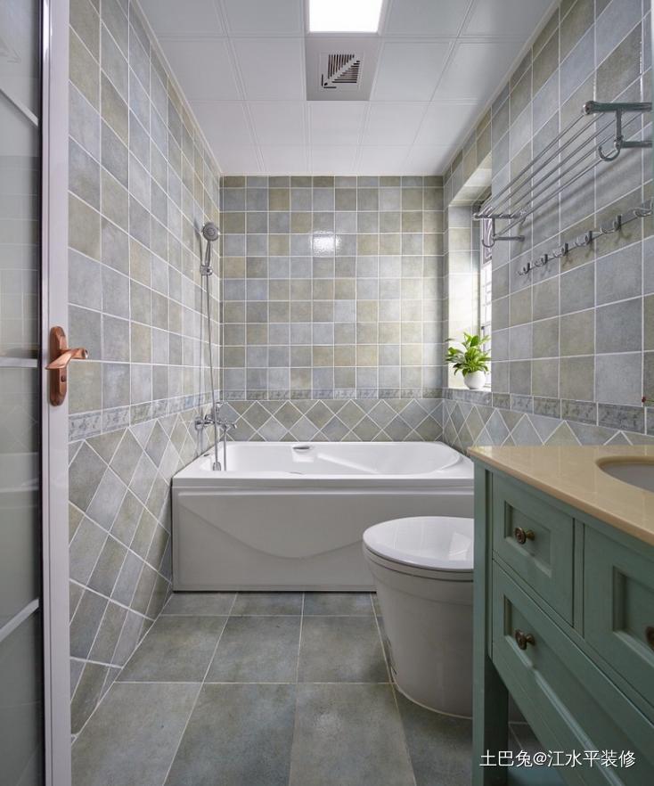 121平顶楼复式老房变形记+美式混搭卫生间潮流混搭卫生间设计图片赏析