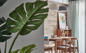134平简约北欧三居地板上墙作餐厅背景厨房北欧极简设计图片赏析