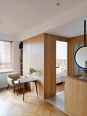 85平面两室改一室的绝对原木设计功能区日式设计图片赏析