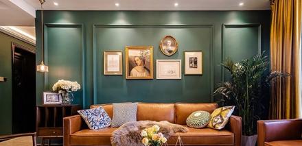 复古家橄榄绿142㎡美式风客厅2图