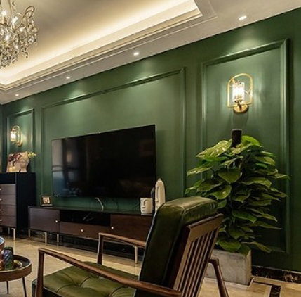 复古家橄榄绿142㎡美式风客厅3图