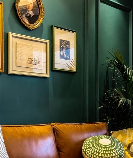 复古家橄榄绿142㎡美式风客厅1图