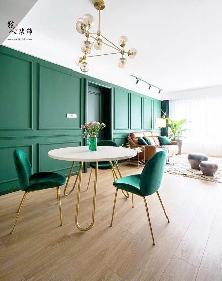 90㎡简欧,墨绿色背景墙,让客厅与众不同厨房