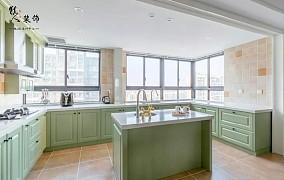 142平摩登美式色调清新厨房超级大餐厅美式经典设计图片赏析