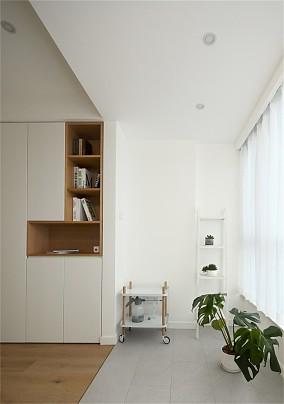 木色+白色140平日式三居室阳台日式设计图片赏析