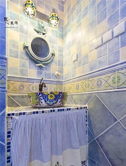 70平蓝白地中海二室在家遐想爱琴海卫生间