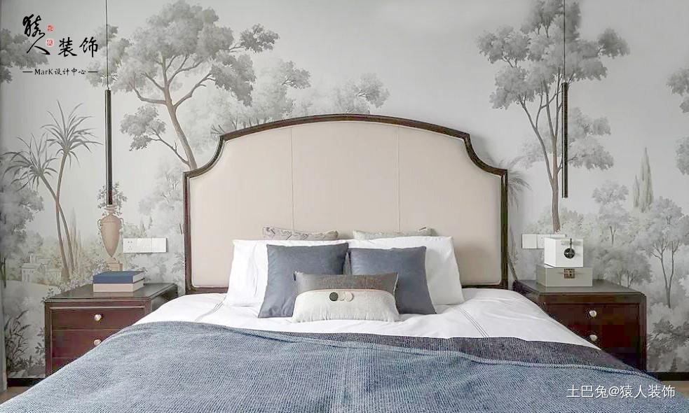 160㎡新中式4室电视背景墙装隐形门卧室中式现代卧室设计图片赏析
