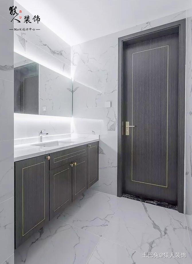 160㎡新中式4室电视背景墙装隐形门卫生间中式现代卫生间设计图片赏析