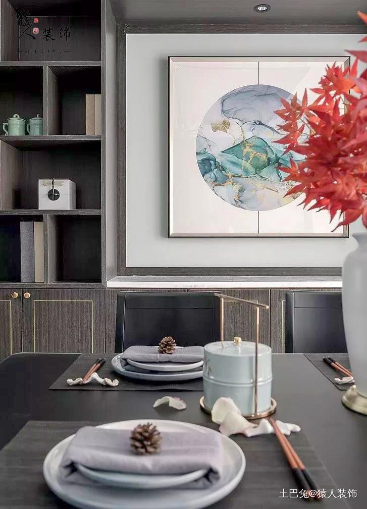 160㎡新中式4室电视背景墙装隐形门厨房中式现代餐厅设计图片赏析
