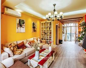 85m²混搭,黄色皇家风范客厅1图潮流混搭设计图片赏析