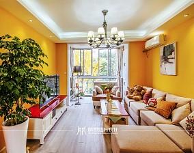 85m²混搭,黄色皇家风范客厅2图潮流混搭设计图片赏析