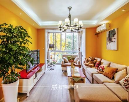 85m²混搭,黄色皇家风范客厅2图