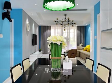 135m²现代简约,蓝色背景厨房