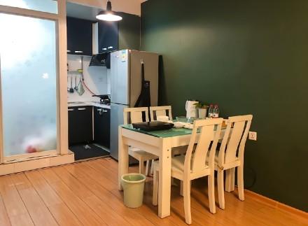 55平小空间,绿色极简风格厨房3图