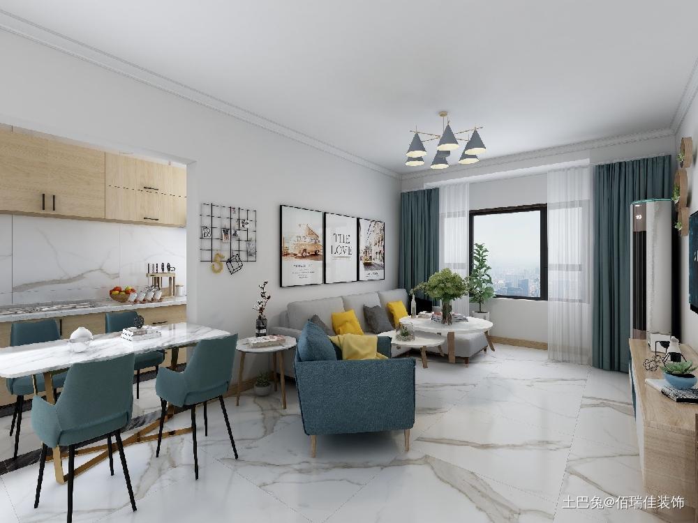 滨瑞花园78平米一室户型客厅北欧极简客厅设计图片赏析