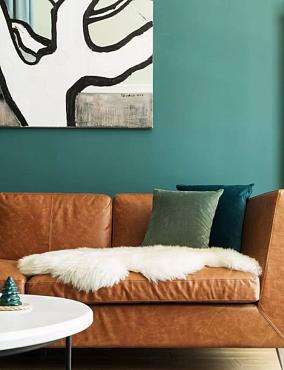 一面复古绿的墙你家看起来又贵又舒适客厅现代简约设计图片赏析