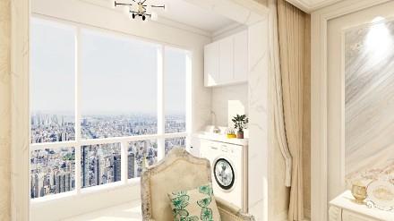 100平的小户型,白色简欧阳台