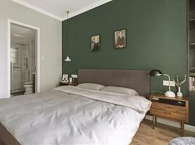110平北欧风,墨绿复古屋卧室1图北欧极简设计图片赏析