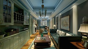 缤纷美式,色彩之间客厅1图美式经典设计图片赏析