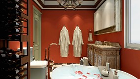 缤纷美式,色彩之间卫生间1图美式经典设计图片赏析