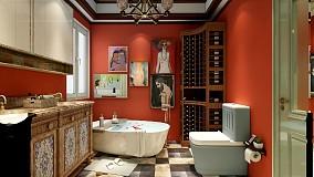 缤纷美式,色彩之间卫生间2图美式经典设计图片赏析