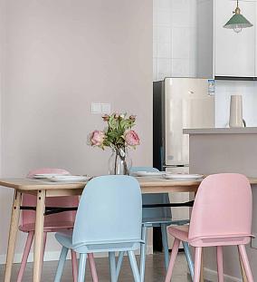 65平米北欧风格,家是甜甜糖果屋厨房北欧极简设计图片赏析