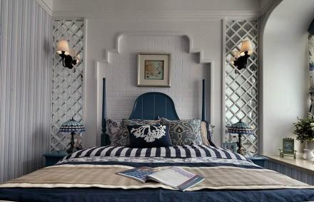 地中海100平米线条美卧室2图