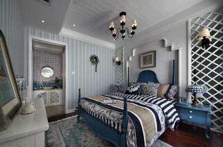 地中海100平米线条美卧室1图