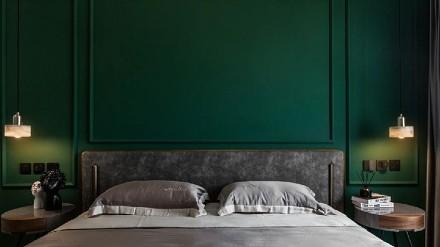 120m²美式大两居,灰色搭配绿色卧室