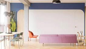 103㎡极简,柔和的色彩,舒适自然客厅1图现代简约设计图片赏析