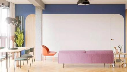 103㎡极简,柔和的色彩,舒适自然客厅1图