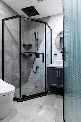 120m²美式大两居,灰色搭配绿色卫生间美式田园设计图片赏析