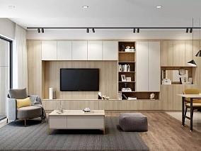原木色、简约又不失温馨客厅北欧极简设计图片赏析