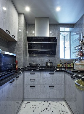 130平米打造高级灰的家餐厅现代简约设计图片赏析